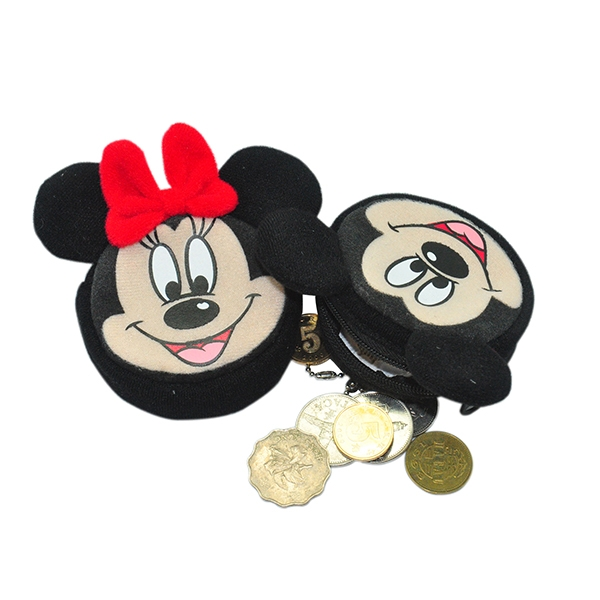 Mickey and Minnie Mouse Plush Coin Wallet Set