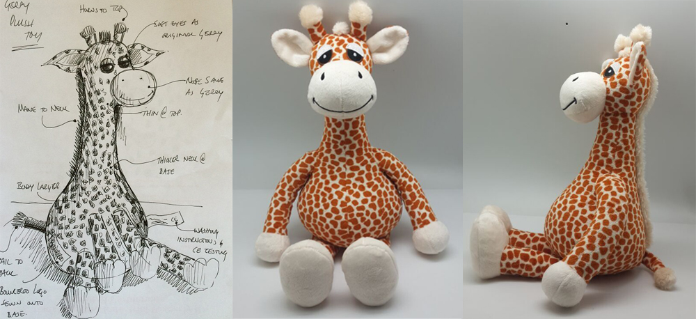 Custom made stuffed giraffe