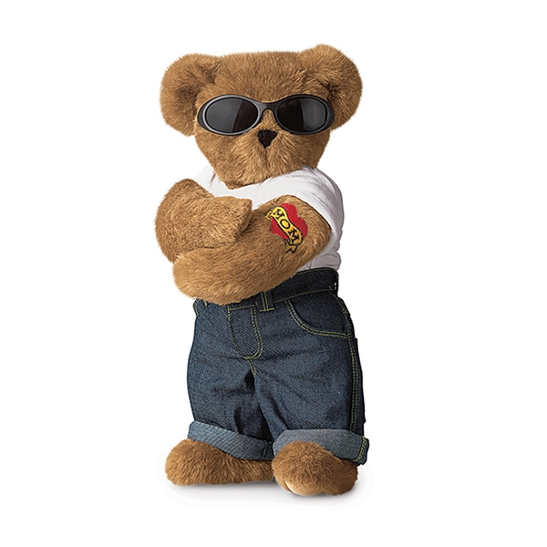 plush teddy bear with glasses
