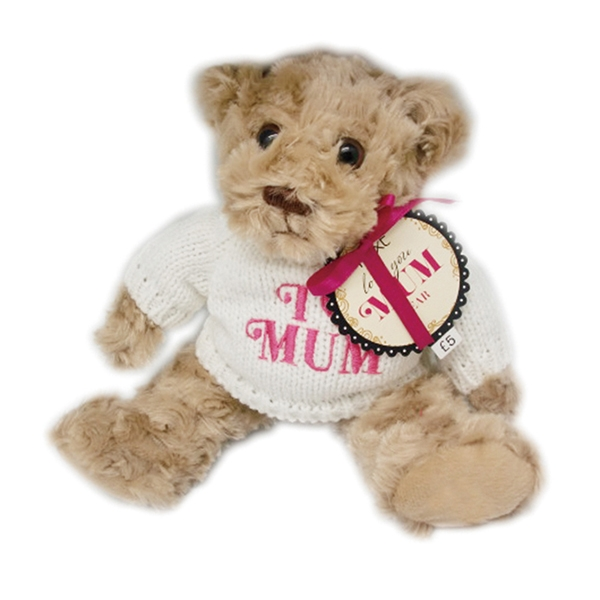 Plush teddy bear with knitted sweater
